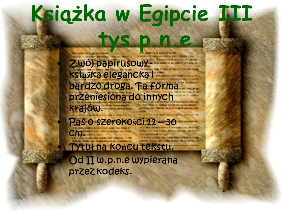 Książka w Egipcie III tys.p.n.e.