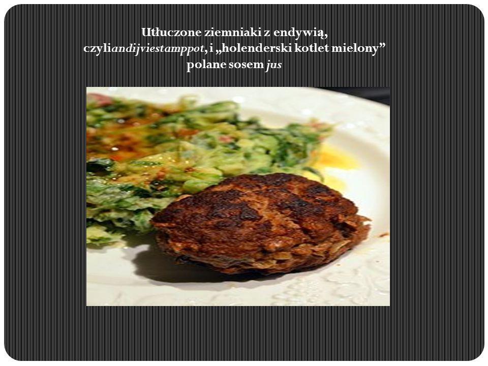 """Utłuczone ziemniaki z endywią, czyliandijviestamppot, i """"holenderski kotlet mielony polane sosem jus"""