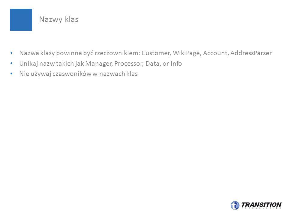 Nazwy klas Nazwa klasy powinna być rzeczownikiem: Customer, WikiPage, Account, AddressParser.