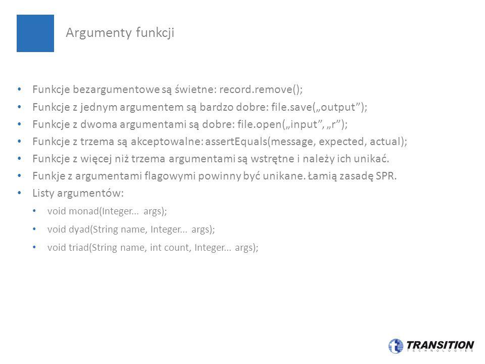 Argumenty funkcji Funkcje bezargumentowe są świetne: record.remove();