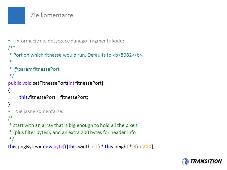 Złe komentarze Informacje nie dotyczące danego fragmentu kodu: /**