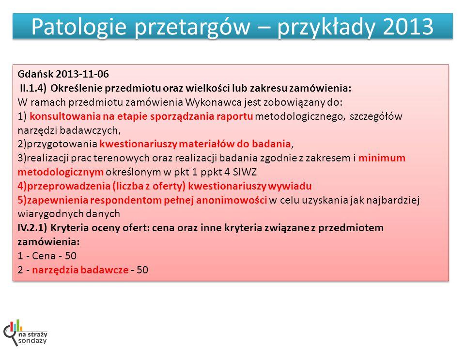 Patologie przetargów – przykłady 2013