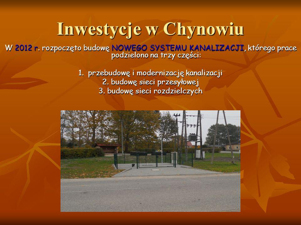 Inwestycje w Chynowiu W 2012 r. rozpoczęto budowę NOWEGO SYSTEMU KANALIZACJI, którego prace podzielono na trzy części: