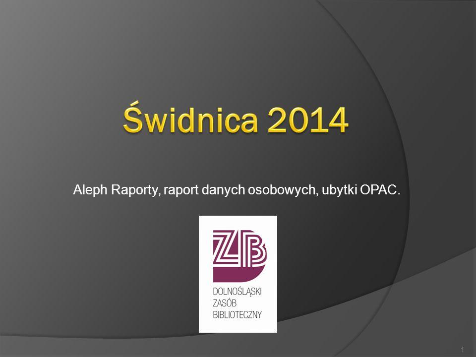 Aleph Raporty, raport danych osobowych, ubytki OPAC.