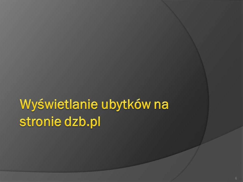 Wyświetlanie ubytków na stronie dzb.pl