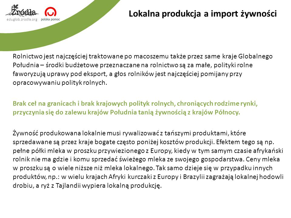 Lokalna produkcja a import żywności