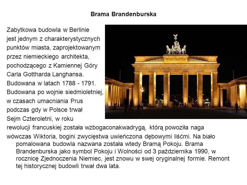 Brama Brandenburska Zabytkowa budowla w Berlinie. jest jednym z charakterystycznych. punktów miasta, zaprojektowanym.