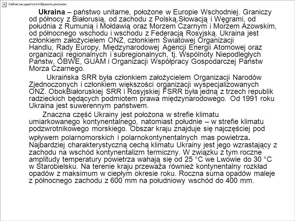 Ukraina – państwo unitarne, położone w Europie Wschodniej