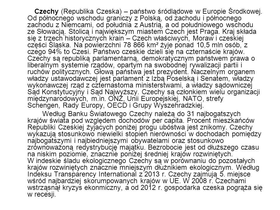 Czechy (Republika Czeska) – państwo śródlądowe w Europie Środkowej