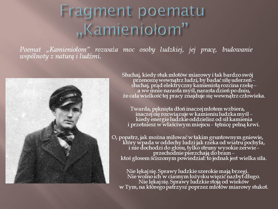 """Fragment poematu """"Kamieniołom"""