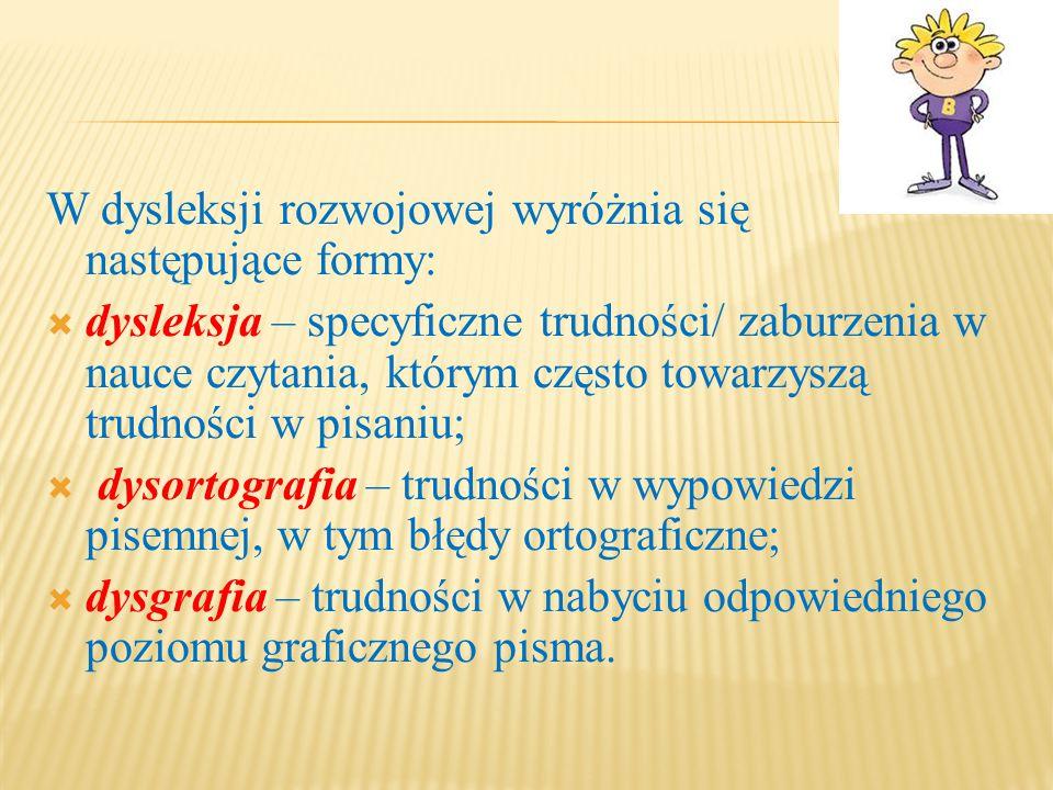 W dysleksji rozwojowej wyróżnia się następujące formy: