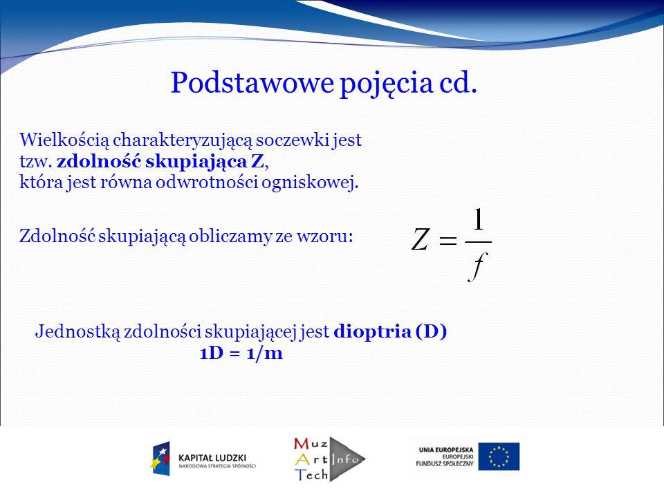 Jednostką zdolności skupiającej jest dioptria (D) 1D = 1/m