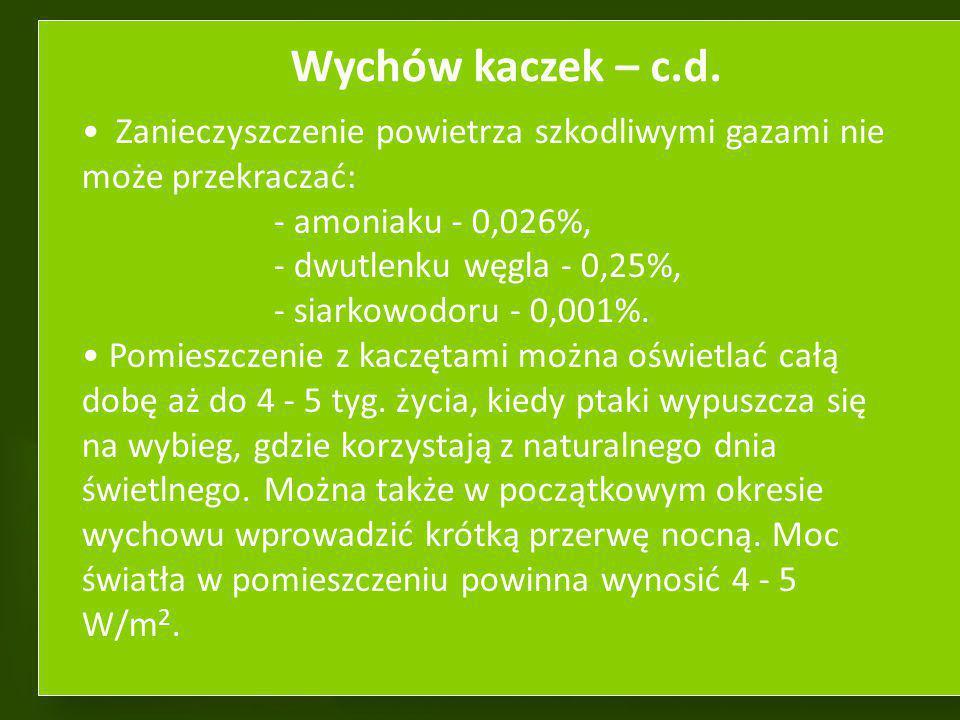 Wychów kaczek – c.d. Zanieczyszczenie powietrza szkodliwymi gazami nie może przekraczać: - amoniaku - 0,026%,