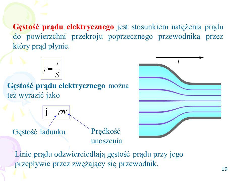 Gęstość prądu elektrycznego jest stosunkiem natężenia prądu do powierzchni przekroju poprzecznego przewodnika przez który prąd płynie.