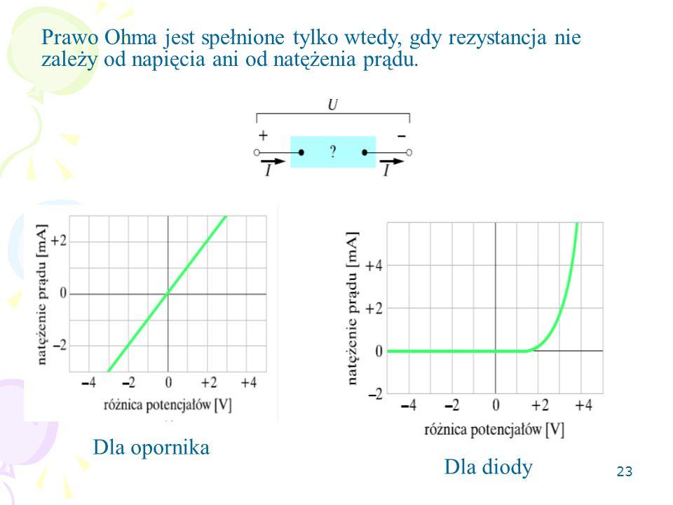 Prawo Ohma jest spełnione tylko wtedy, gdy rezystancja nie zależy od napięcia ani od natężenia prądu.