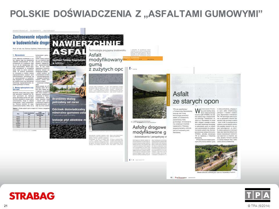 """POLSKIE DOŚWIADCZENIA Z """"ASFALTAMI GUMOWYMI"""
