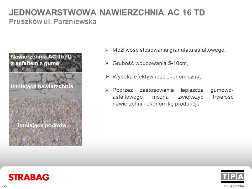 JEDNOWARSTWOWA NAWIERZCHNIA AC 16 TD Pruszków ul. Parzniewska