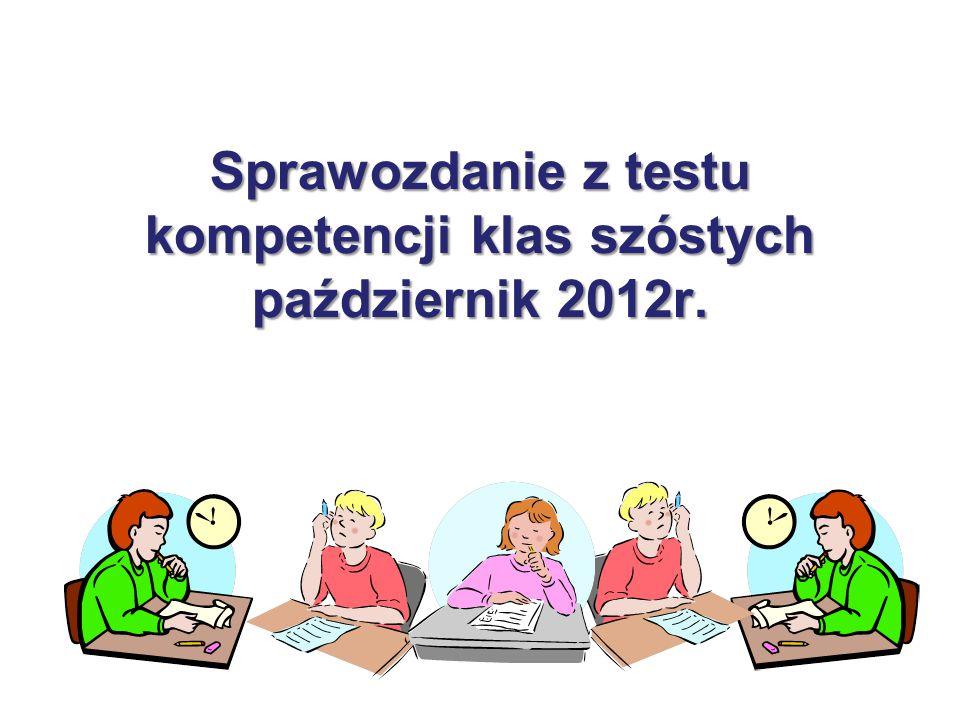 Sprawozdanie z testu kompetencji klas szóstych październik 2012r.