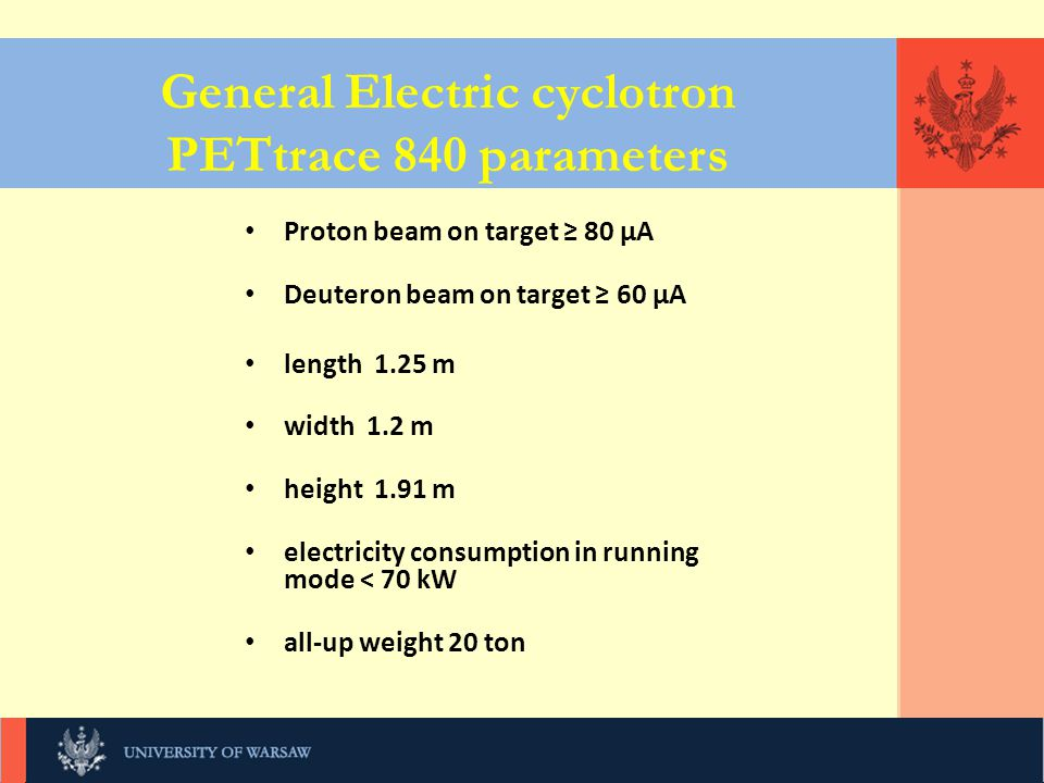 General Electric cyclotron PETtrace 840 parameters