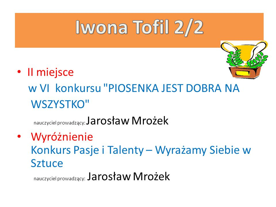 Iwona Tofil 2/2 II miejsce w VI konkursu PIOSENKA JEST DOBRA NA