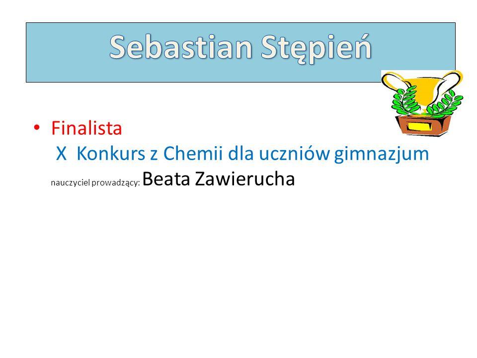 Sebastian Stępień Finalista X Konkurs z Chemii dla uczniów gimnazjum nauczyciel prowadzący: Beata Zawierucha.