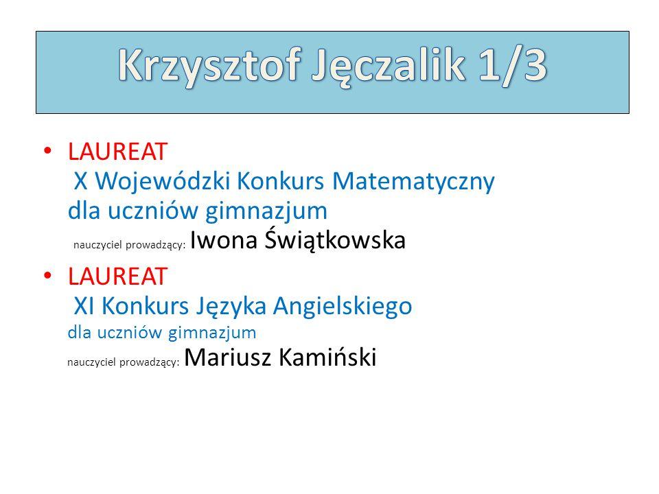 Krzysztof Jęczalik 1/3 LAUREAT X Wojewódzki Konkurs Matematyczny dla uczniów gimnazjum nauczyciel prowadzący: Iwona Świątkowska.