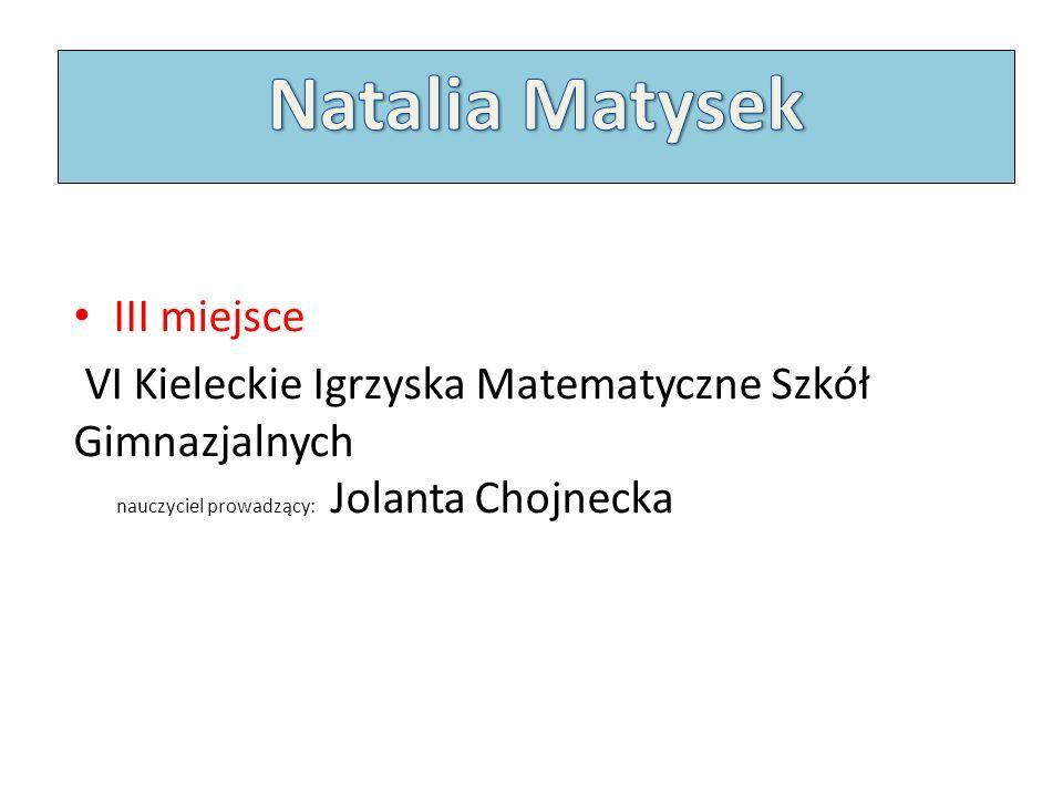 Natalia Matysek III miejsce