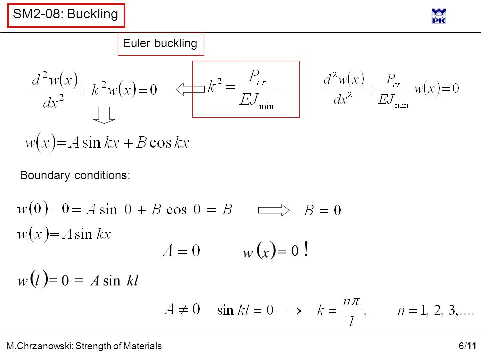 Euler buckling Boundary conditions: ( ) x w 0 ! = ( ) kl A l w sin =