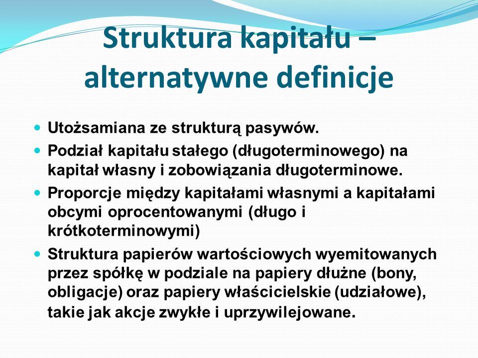 Struktura kapitału – alternatywne definicje