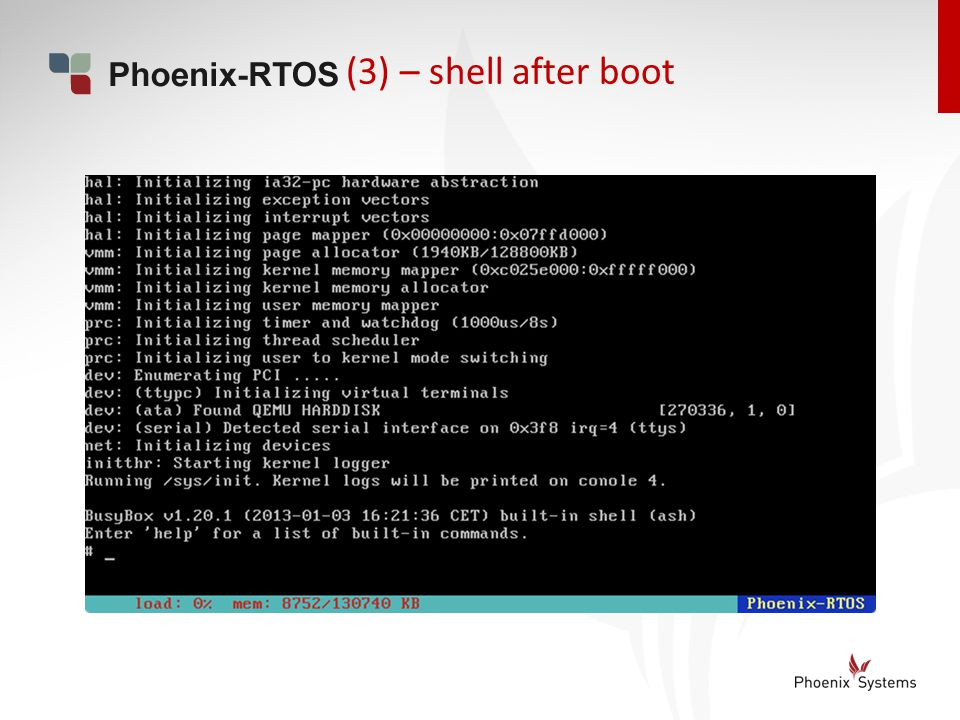 (3) – shell after boot