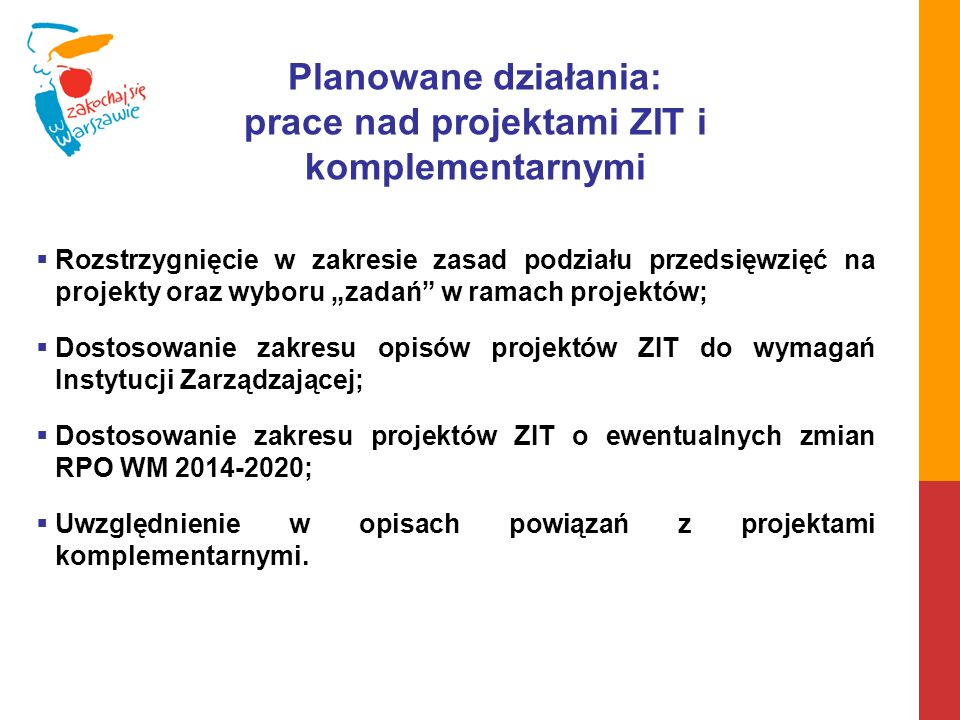 prace nad projektami ZIT i komplementarnymi