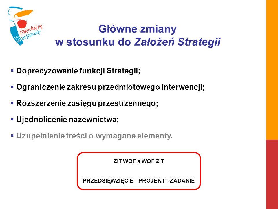 w stosunku do Założeń Strategii PRZEDSIĘWZIĘCIE – PROJEKT – ZADANIE