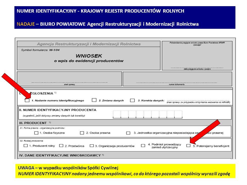 NUMER IDENTYFIKACYJNY - KRAJOWY REJESTR PRODUCENTÓW ROLNYCH