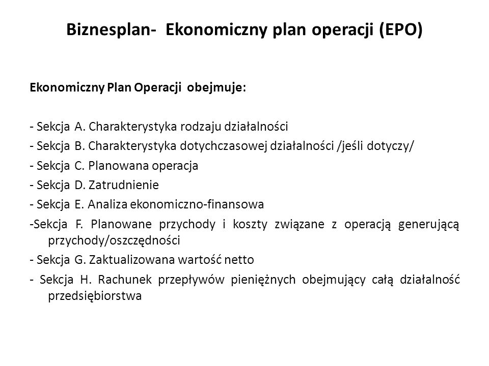 Biznesplan- Ekonomiczny plan operacji (EPO)
