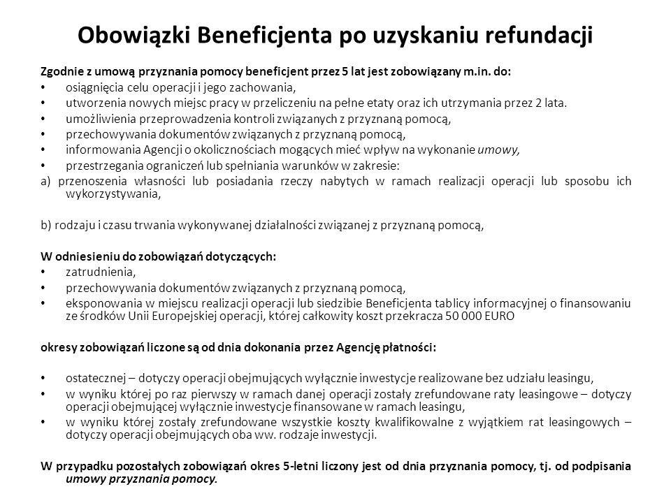 Obowiązki Beneficjenta po uzyskaniu refundacji