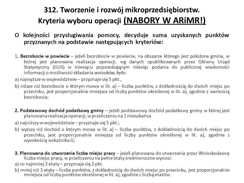 312. Tworzenie i rozwój mikroprzedsiębiorstw