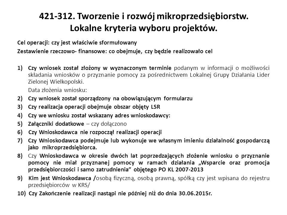 421-312. Tworzenie i rozwój mikroprzedsiębiorstw