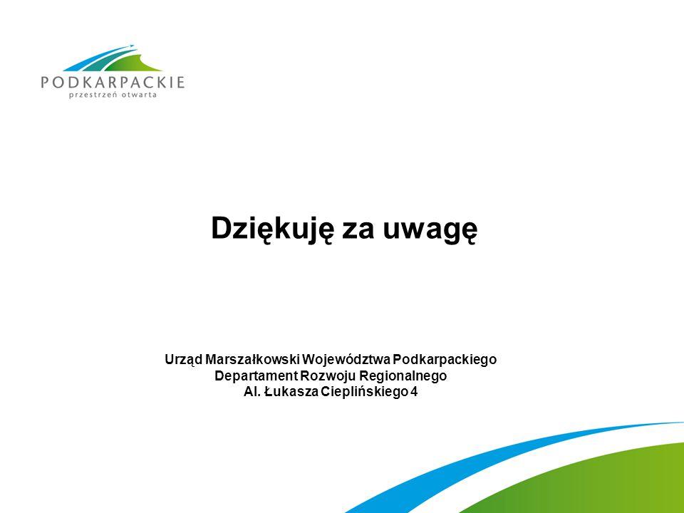 Dziękuję za uwagę Urząd Marszałkowski Województwa Podkarpackiego