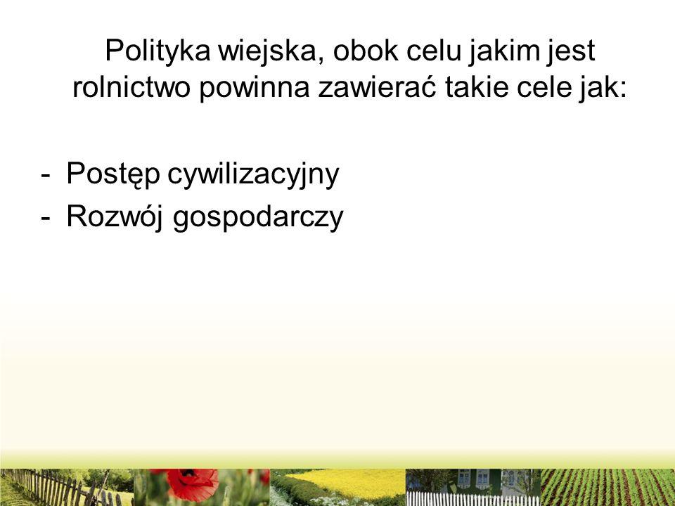 Polityka wiejska, obok celu jakim jest rolnictwo powinna zawierać takie cele jak: