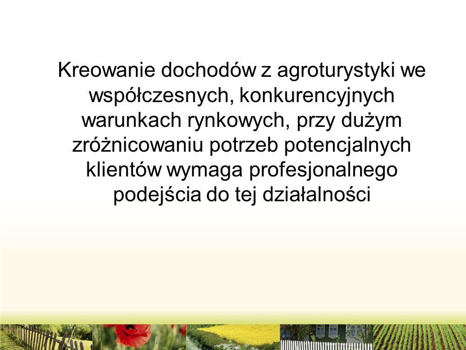 Kreowanie dochodów z agroturystyki we współczesnych, konkurencyjnych warunkach rynkowych, przy dużym zróżnicowaniu potrzeb potencjalnych klientów wymaga profesjonalnego podejścia do tej działalności