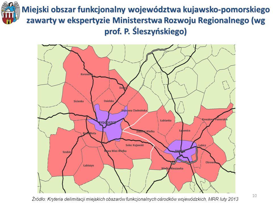 Miejski obszar funkcjonalny województwa kujawsko-pomorskiego zawarty w ekspertyzie Ministerstwa Rozwoju Regionalnego (wg prof. P. Śleszyńskiego)