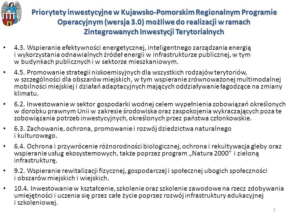 Priorytety inwestycyjne w Kujawsko-Pomorskim Regionalnym Programie Operacyjnym (wersja 3.0) możliwe do realizacji w ramach Zintegrowanych Inwestycji Terytorialnych