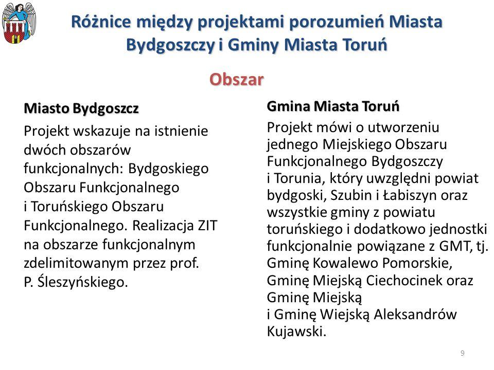 Różnice między projektami porozumień Miasta Bydgoszczy i Gminy Miasta Toruń