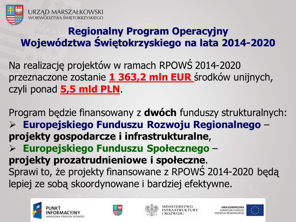 Regionalny Program Operacyjny Województwa Świętokrzyskiego na lata 2014-2020