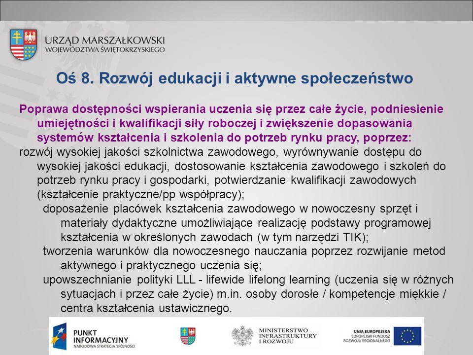 Oś 8. Rozwój edukacji i aktywne społeczeństwo