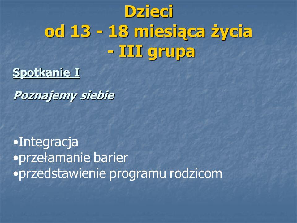 Dzieci od 13 - 18 miesiąca życia - III grupa