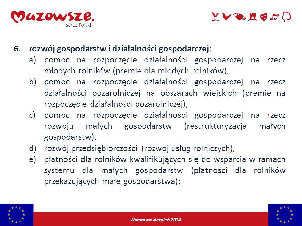 rozwój gospodarstw i działalności gospodarczej: