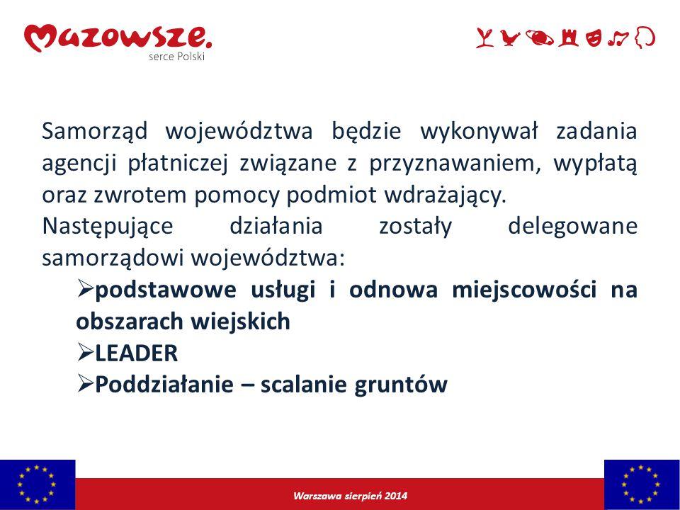 Następujące działania zostały delegowane samorządowi województwa: