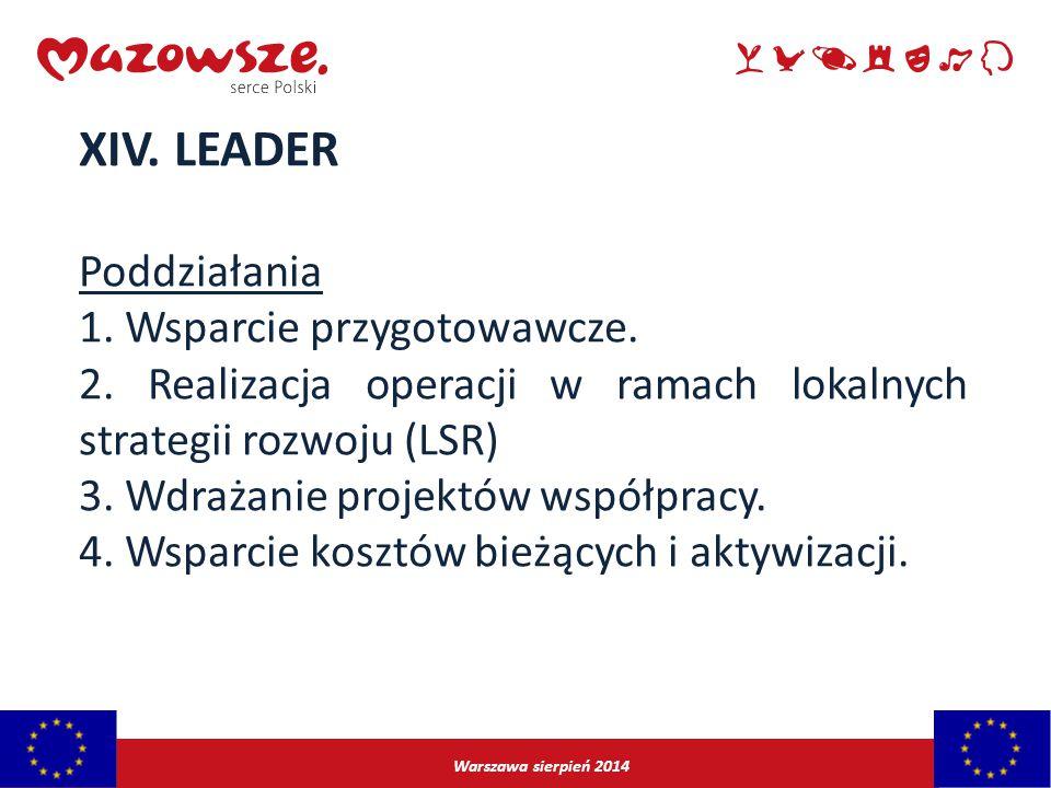 XIV. LEADER Poddziałania 1. Wsparcie przygotowawcze.