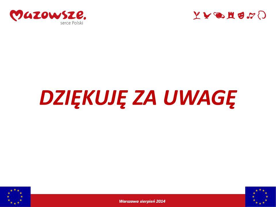DZIĘKUJĘ ZA UWAGĘ Warszawa sierpień 2014